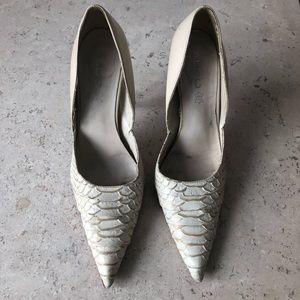 Partial Snakeskin heels in cream/white